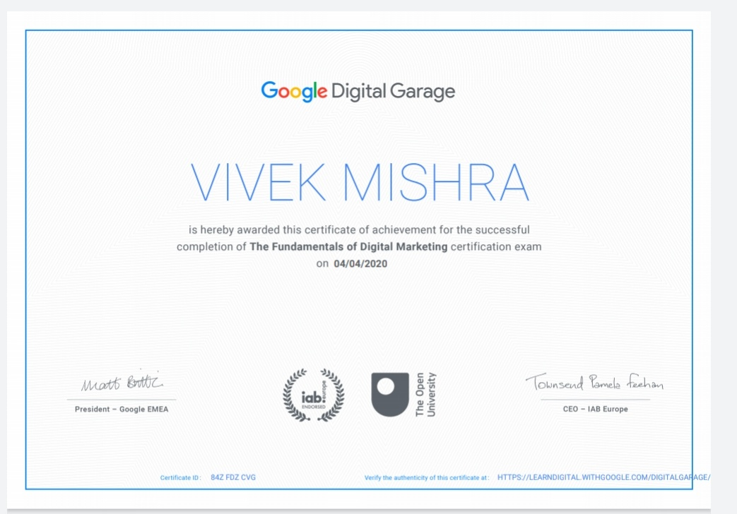 Get certified in the Fundamentals of Digital Marketing